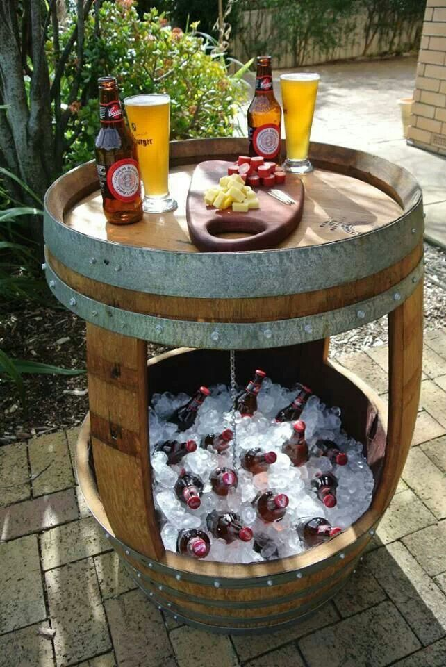 Whiskey barrel repurposed for backyard parties!