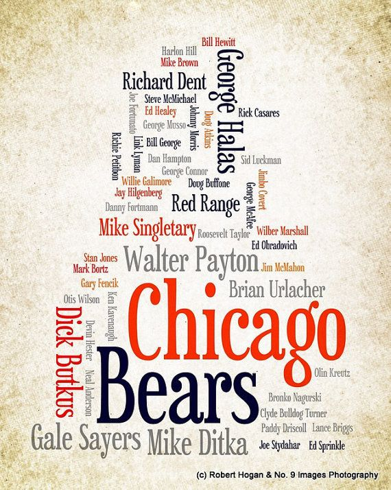 Chicago Bears - Greatest Football Players - 8x10 Word Cloud Art Print - Gift Idea