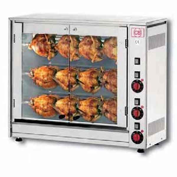 Κοτοπουλιέρα ηλεκτρική Ιταλίας με 3 αυτόνομες σούβλες. Η κοτοπουλιέρα είναι ανοξείδωτης κατασκευής ιδανική για 12 κοτόπουλα.