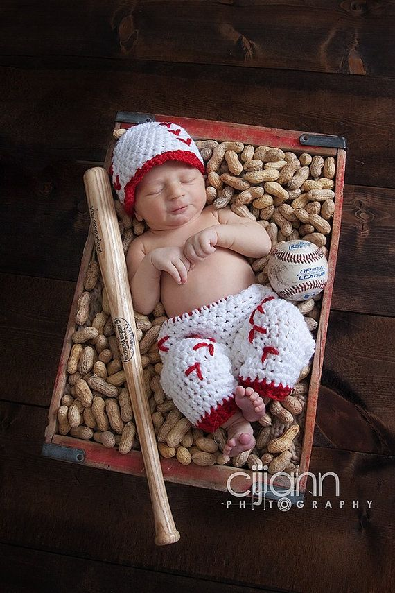 Crochet newborn baseball cap and short pants photography prop baby shower gift halloween
