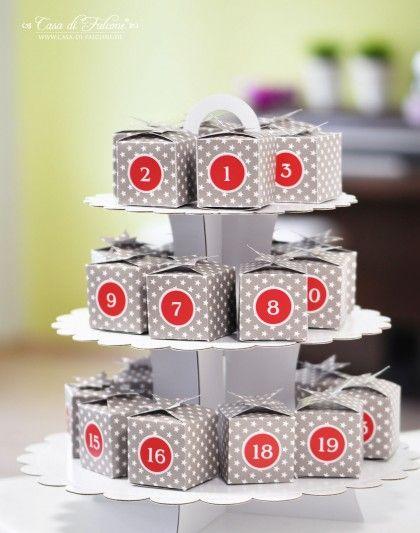 Schöne Idee: 3-stöckiger Kuchenständer! Adventskalender Schachteln