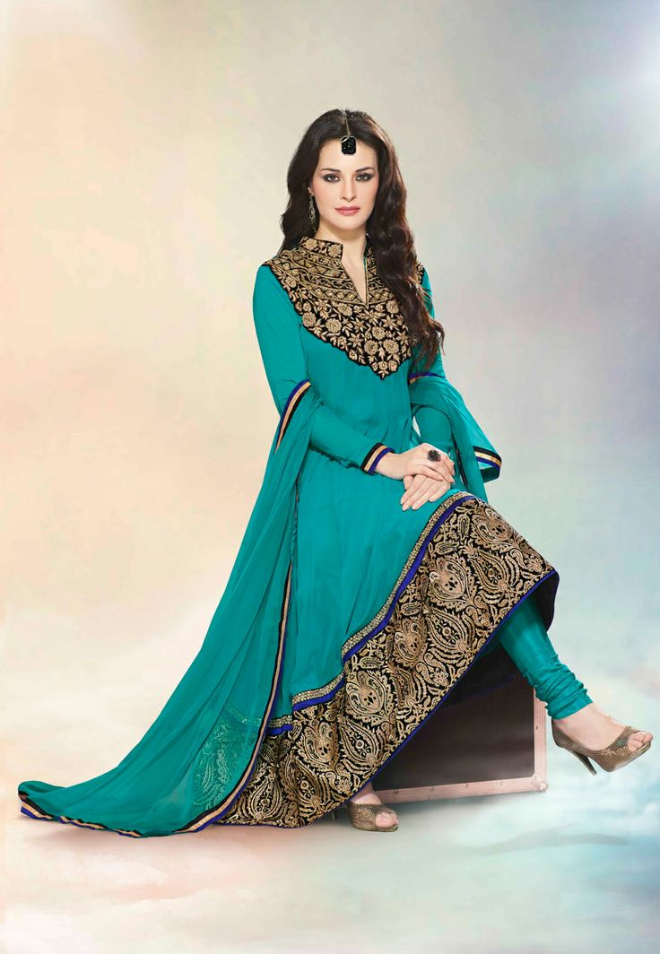 #Blue #Anarkali #Churidar Kameez
