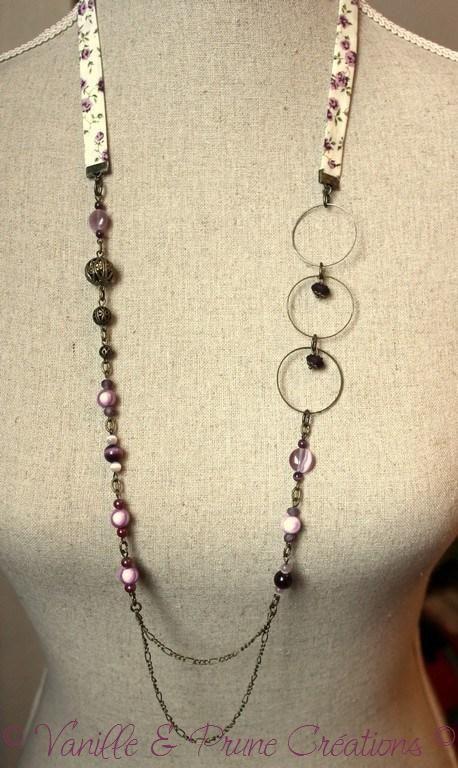 Sautoir bronze et biais de liberty crème, rose, violet et vert pâle - Vanille & Prune Créations