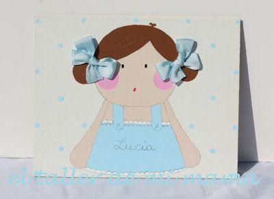 Cartel de niña con peto, pintado a mano sobre lienzo 3D, con diferentes aplicaciones