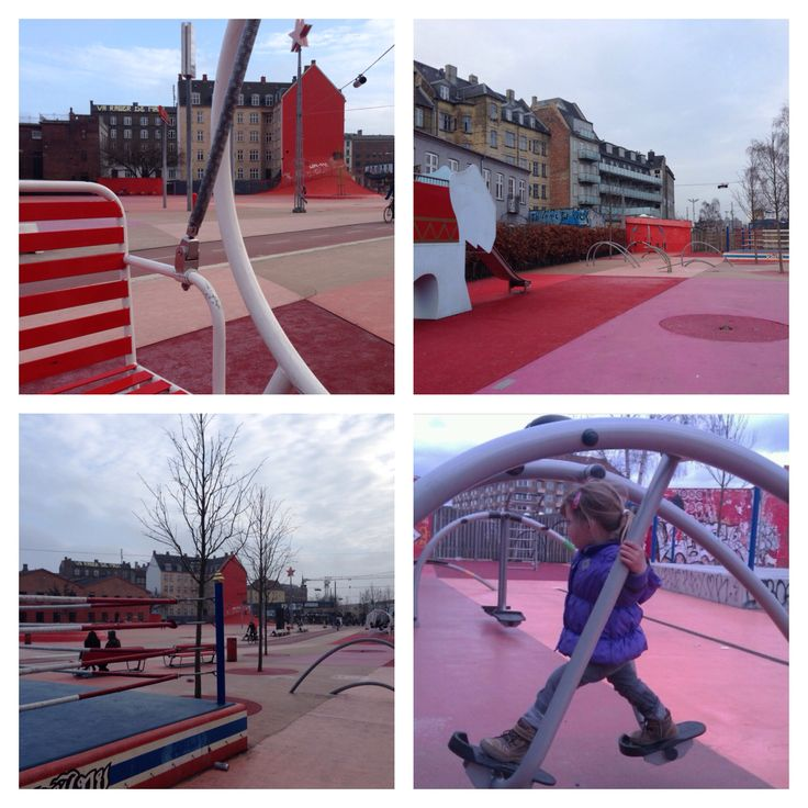 Den Røde Plads. Socialiser på 4-mandsgyngen, skatebanen, motionsmaskinen, klatrestativ, rampen, fodboldbanen el. i bokseringen.  Pladsen er en del af Projekt Superkilen – Den Urbane park, som har hentet inspiration fra alle verdens hjørner. Superkilen strækker sig fra den grønne cykelsti ved Tagensvej til Nørrebrogade. Den Røde Plads er lokaliseret for enden af Nørrebroparken. Følger du stien som går tværs over pladsen, ender du ved Mimers gade og Den Sorte Plads.