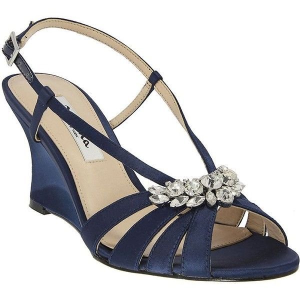 Nina Viani Satin Wedge Sandals ($74) ❤ liked on Polyvore featuring shoes, sandals, navy blue, ankle strap wedge sandals, navy shoes, navy blue wedge shoes, navy wedge shoes and ankle wrap wedge sandals