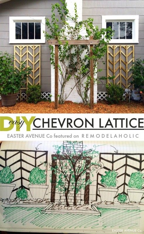 Make this easy to build chevron lattice to add height and interest to your flower beds for spring -- great detailed tutorial! I love how easy this trellis is to build and add curb appeal!