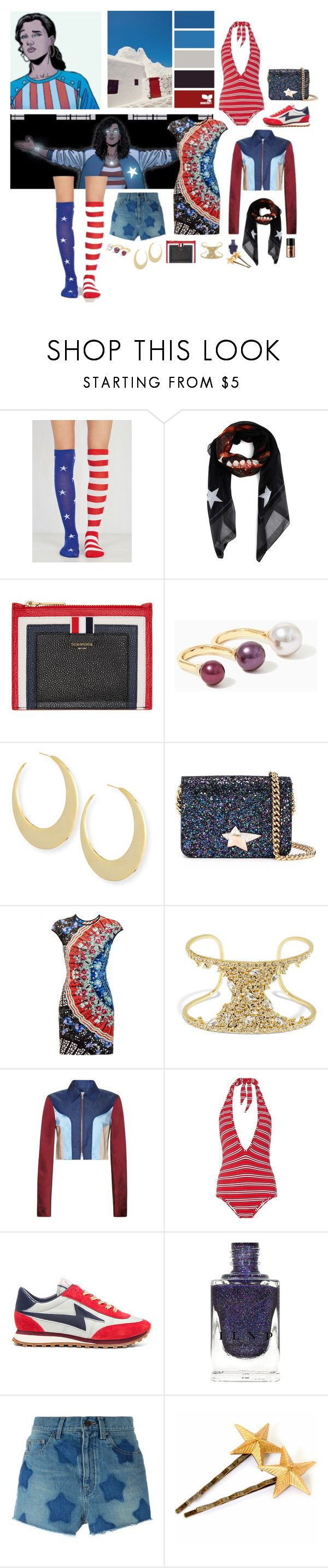 """""""private icon: America Chavez"""" by anglepoise ❤ liked on Polyvore featuring Givenchy, Thom Browne, Rebecca Minkoff, Charlotte Olympia, Clover Canyon, BaubleBar, Jonathan Saunders, Zimmermann, Marc Jacobs and Yves Saint Laurent"""