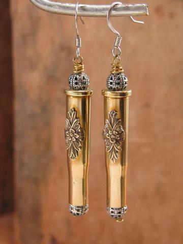Straight Shooter 22 Hornet Brass w/Silver Filigree Beads Mixed Metal Bullet Casing Earrings