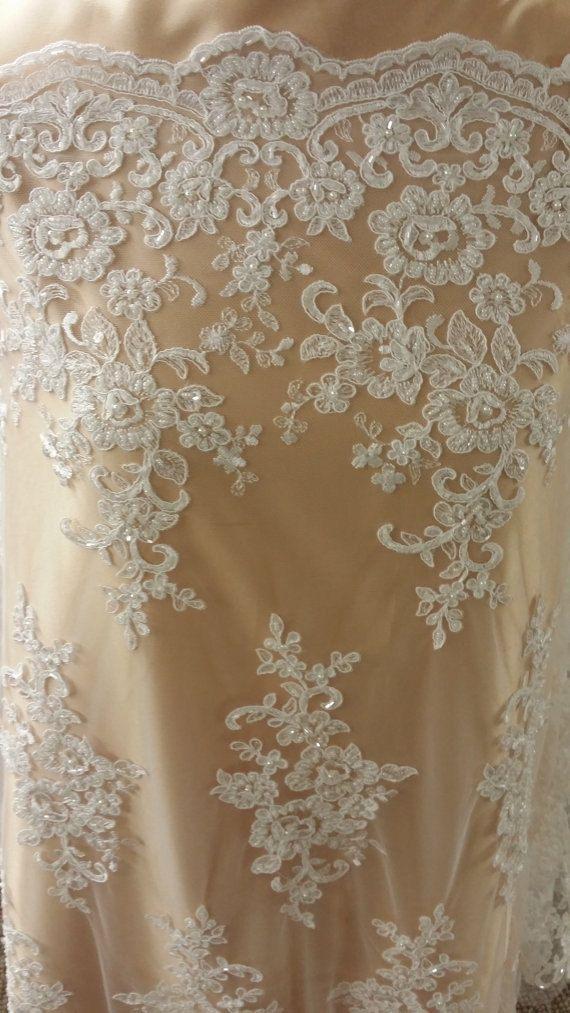 Ivory lace fabric, Beads lace fabric, Wedding lace, Gorgeous Ivory Alencon Lace…