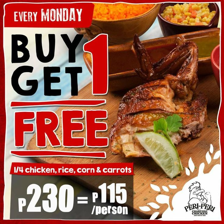 Buy 1, Get 1 Chicken Plate for FREE every Monday @ Peri-Peri Charcoal Chicken. CLICK HERE for more details: https://dealspinoy.com/buy-1-get-1-chicken-plate-for-free-every-monday-peri-peri-charcoal-chicken/ #DealsPinoy
