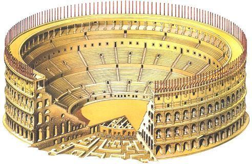 Partes subterráneas del Coliseo Romano.