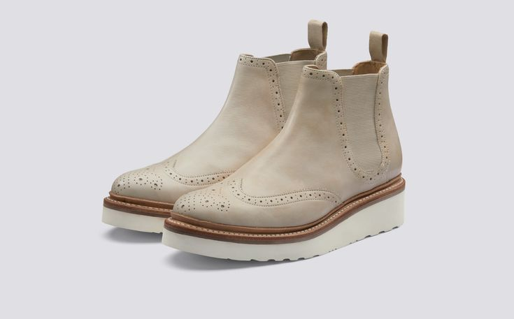 Alice | Womens Chelsea Boot in Natural Calf Leather with a White Wedge Sole | Grenson Shoes - Three Quarter View