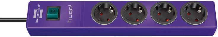 hugo! extension socket 4-way violet 2m H05VV-F 3G1.5 | hugo! Extension Socket | brennenstuhl®