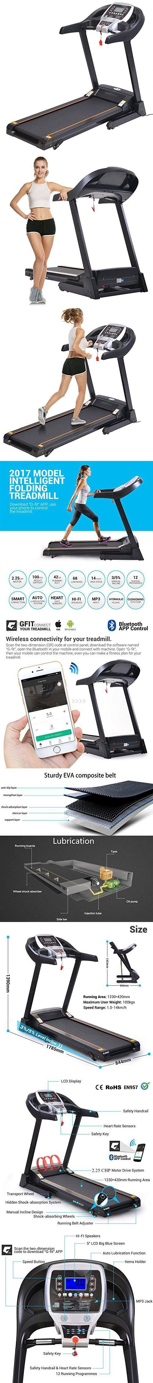 Lantusi Foldable Treadmill APP Bluetooth Control, Portable Electric Motorized Running Fitness Machine , Black & Grey (US STOCK)