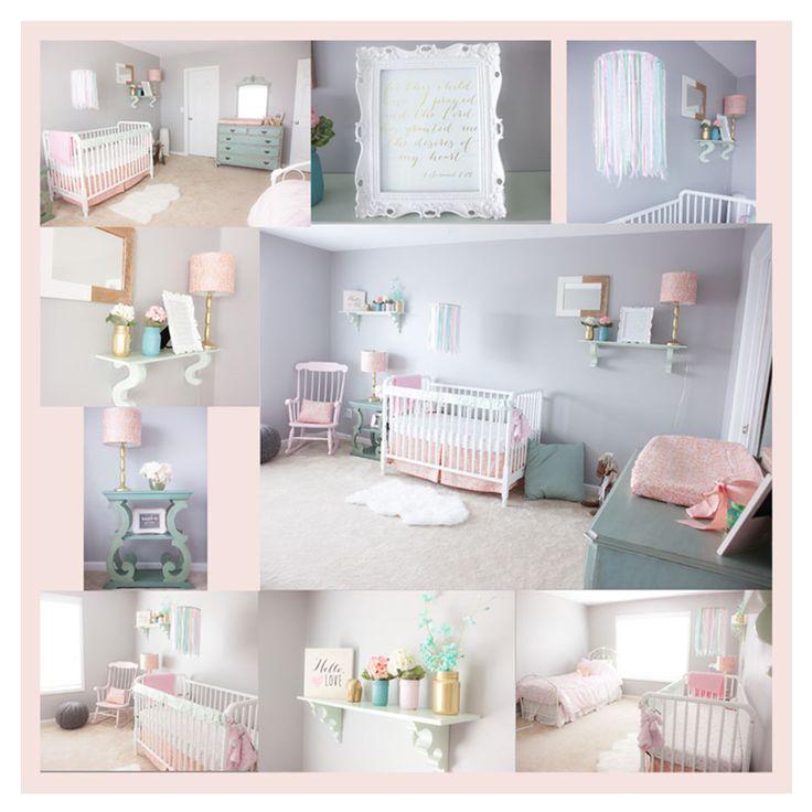 Pink Mint And Gray Baby Girl Nursery Baby Girls Light