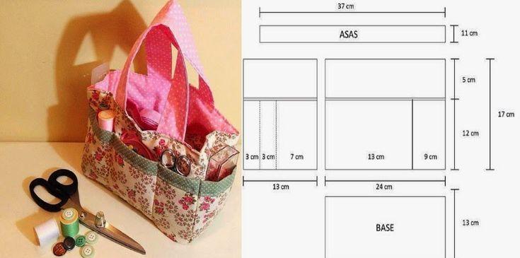Bolsa com medidas para guardar e transportar o material de costura. Esta bolsa para além de ser muito linda é muito prática para organizar o estojo de cost