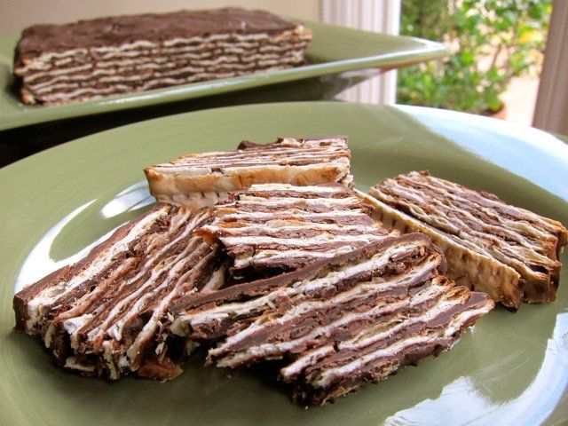 "Matzoh Dessert - This fun and easy no-bake ""cake"" was invented because of the Passover restriction on leavening agents, which makes baking tough."