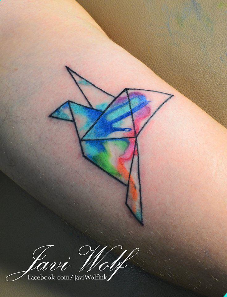 Origami bird tattoo Tattooed by Javi Wolf