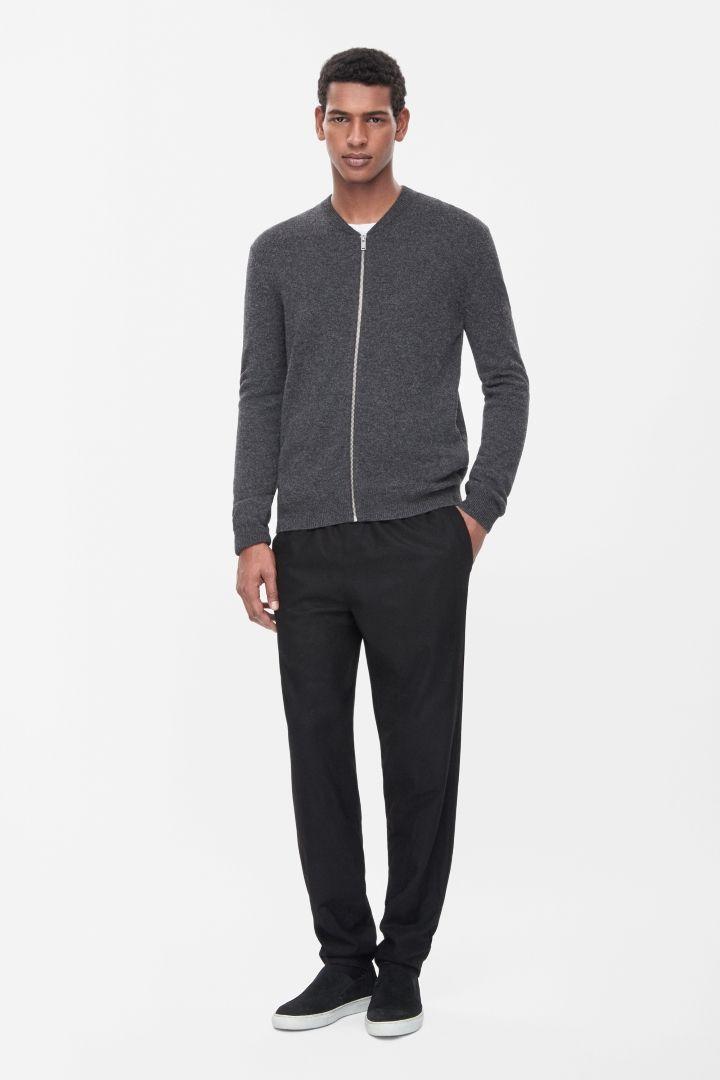 COS   Lambswool zip-up cardigan