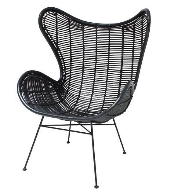 HK-living Stoel zwart rotan Egg chair 100x63x63cm - wonenmetlef.nl