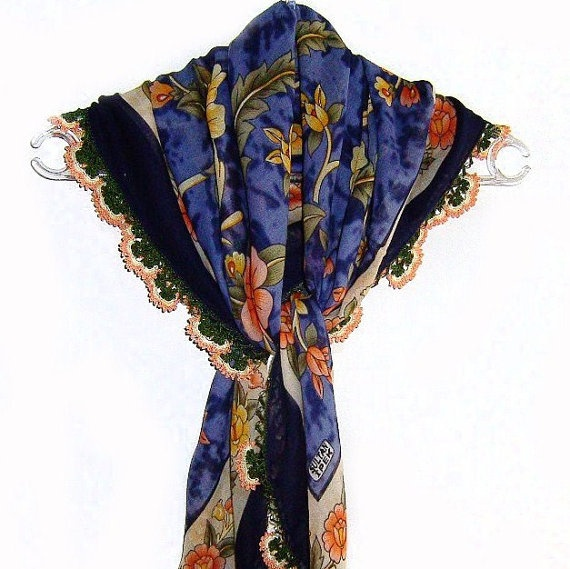 Traditional Turkish Yemeni Cotton Scarf With Lace by naryaboutique, $30.00