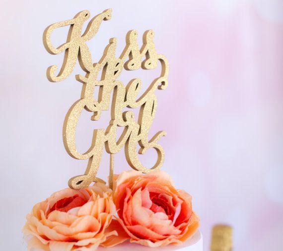 Wedding Cake Topper- Kiss the Girl-Disney Inspired-The Little Mermaid  by Cake Sparkle on Etsy www.cakesparkle.etsy.com