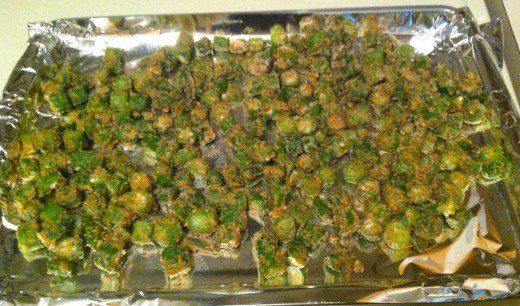 Oven baked okra. It has the batter like you fried it and nutrition that you like!
