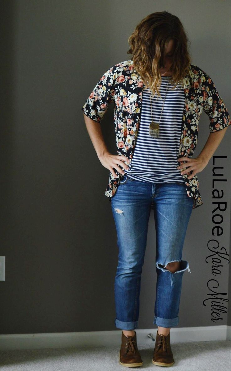 LuLaRoe Fall Fashion Trends:  Distressed jeans with Irma Tunic and Floral Bianka Kimono. Print mixing, floral and stripes  Shop here: https://www.facebook.com/groups/LularoeKaraMiller/