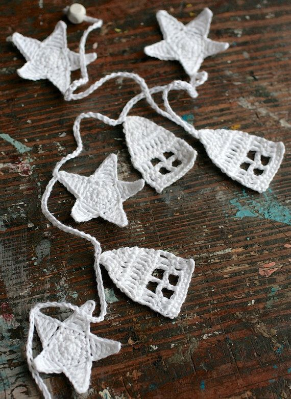 Crochet Garland Wall Hanging houses stars houses by namolio,