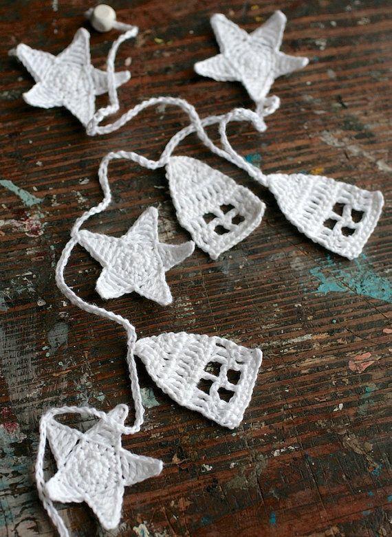 Crochet Garland Wall Hanging houses stars houses by namolio,