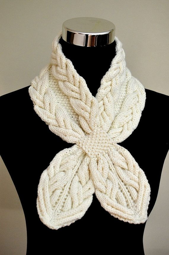 Knitting pattern for Milky White Cables Scarf self fastening keyhole neck warmer…