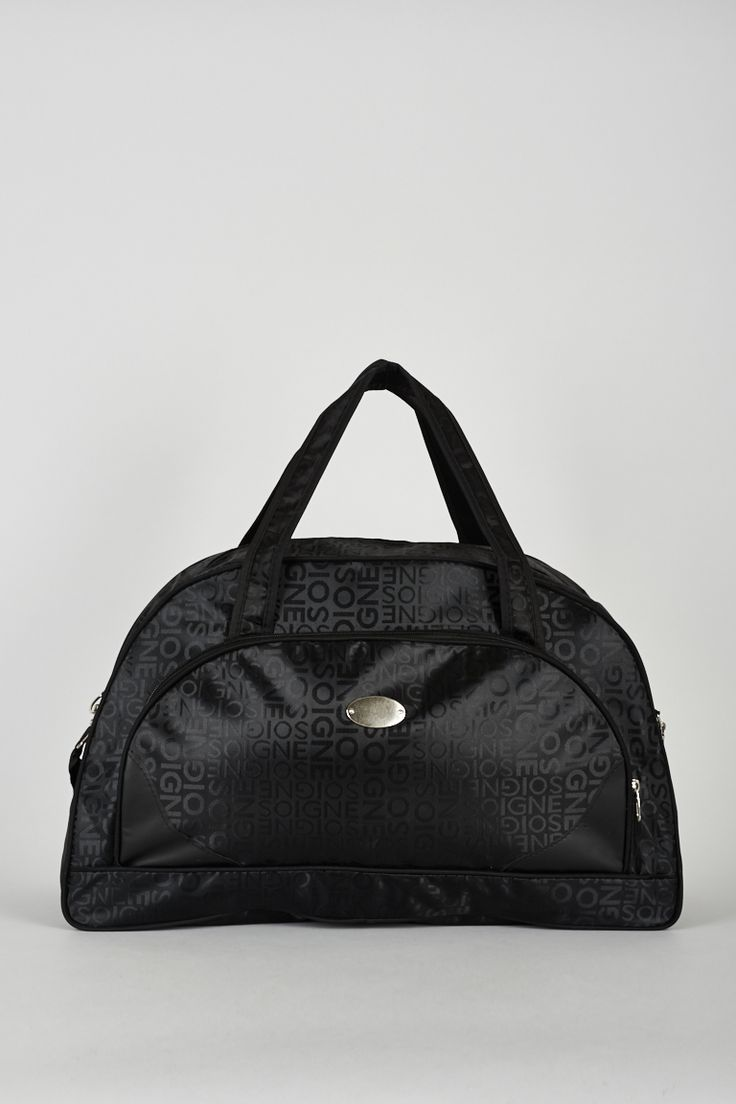 Black Logo Print Weekend Holdall Bag. £8.99