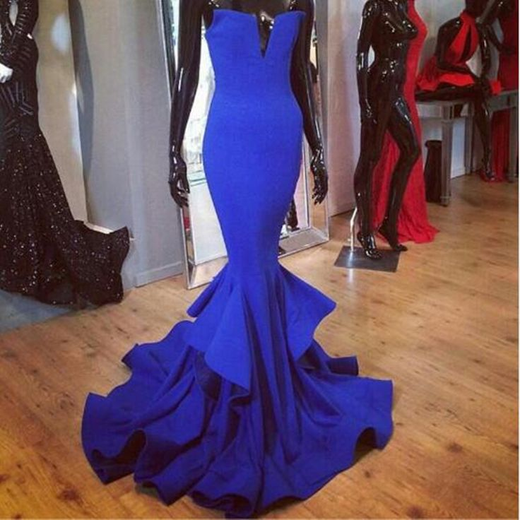 New Arrival Royal Blue Mermaid Evening Dresses Sexy