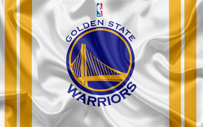 Download wallpapers Golden State Warriors, basketball club, NBA, emblem, logo, USA, National Basketball Association, silk flag, basketball, Oakland, California, US basketball league, Pacific Division