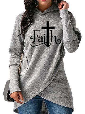 13aa8b3fce6 Amazing Letter Print Faith Irregular Long Sleeve Hoodie on Newchic