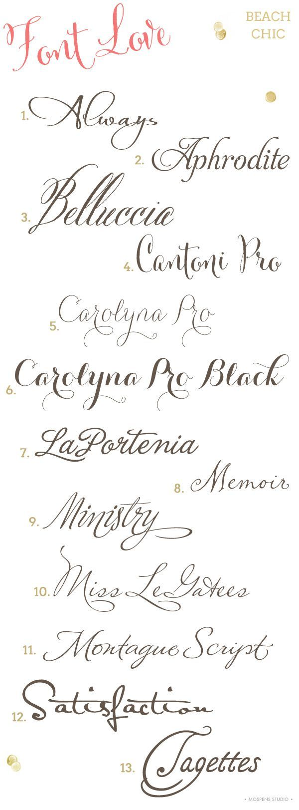 Font Love #6 / Beach Chic Wedding Invitation Fonts
