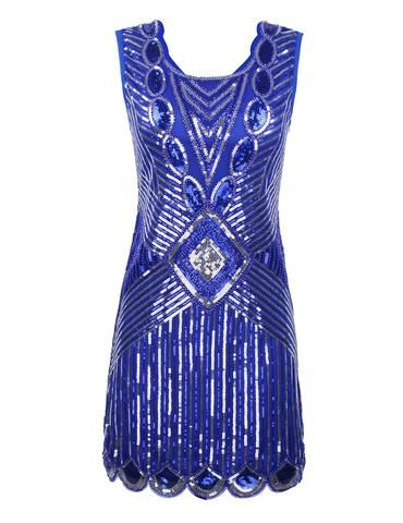 SERINA Sequin 20's Inspired Dress -  Blue Silver