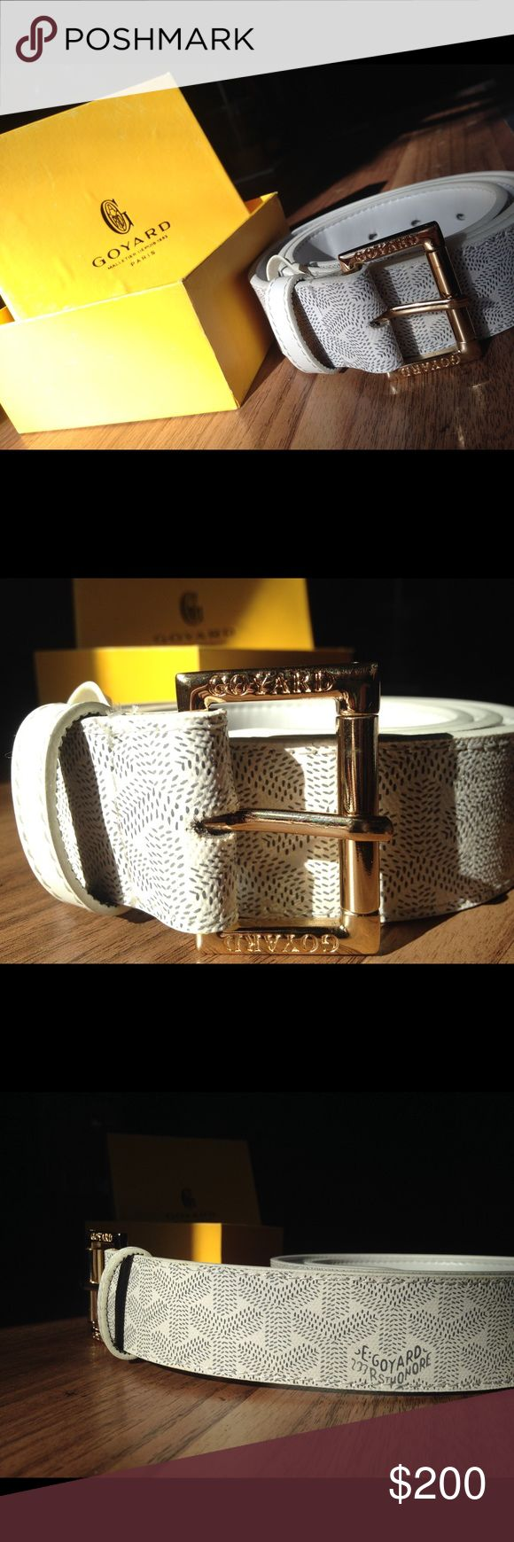 Men's goyard belt all white Men's all white goyard belt brand new never worn 🔥 gold buckle comes with box and dust bag !! ❤️ men's size 30-32 make me an offer ! Check my ratings ! And my closet ! Had to repost this listing because of spammers someone bought it then canceled the order so it's on my page as sold but it's not actually sold Goyard Accessories Belts