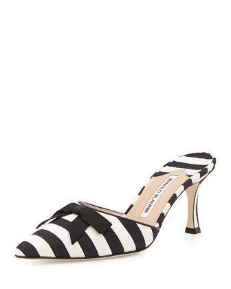 Carolyne Mid-Heel Striped Fabric Slide, Black/White by Manolo Blahnik at Bergdorf Goodman. #manoloblahnikheelsbergdorfgoodman #manoloblahnikheelsneimanmarcus