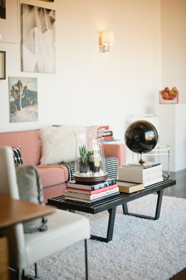 : Coffee Tables, Pink Sofas, Pink Couch, Gardens Design Ideas, Soft Pink, Studios Tours, Colors Palettes, Living Rooms Colors, Creative Studios