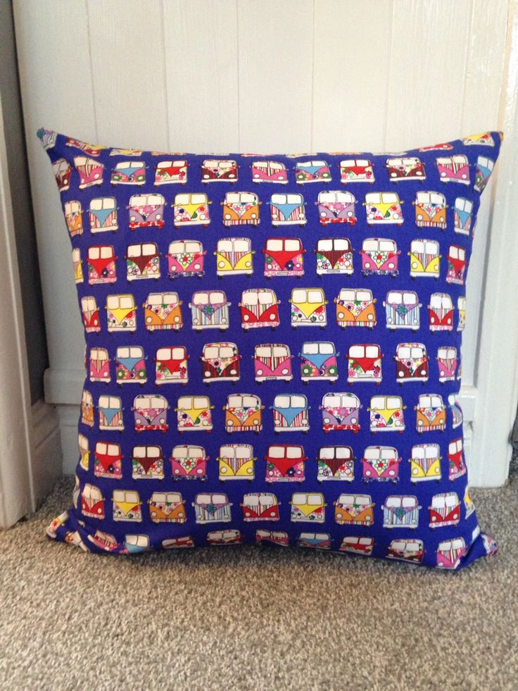 """Campervan Cushion Cover 21""""x 21"""" 100% Cotton £10.50 FREE p&p. Cushion Cover and Filled £13.50 plus P&P! #campervans #blue #multicoloured #cushion #cover #zipped PM Homefield Cushions to purchase one :-)"""