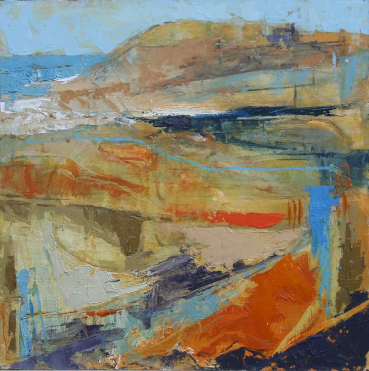 Abstract Seascape in Blue and Orange Oil on Board 40 x 40 cm £ 1,100 #Art #Paintings #Seascape