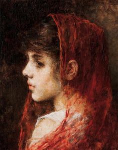 Alexei Alexeievich Harlamoff - Portrait of a young girl with a red veil
