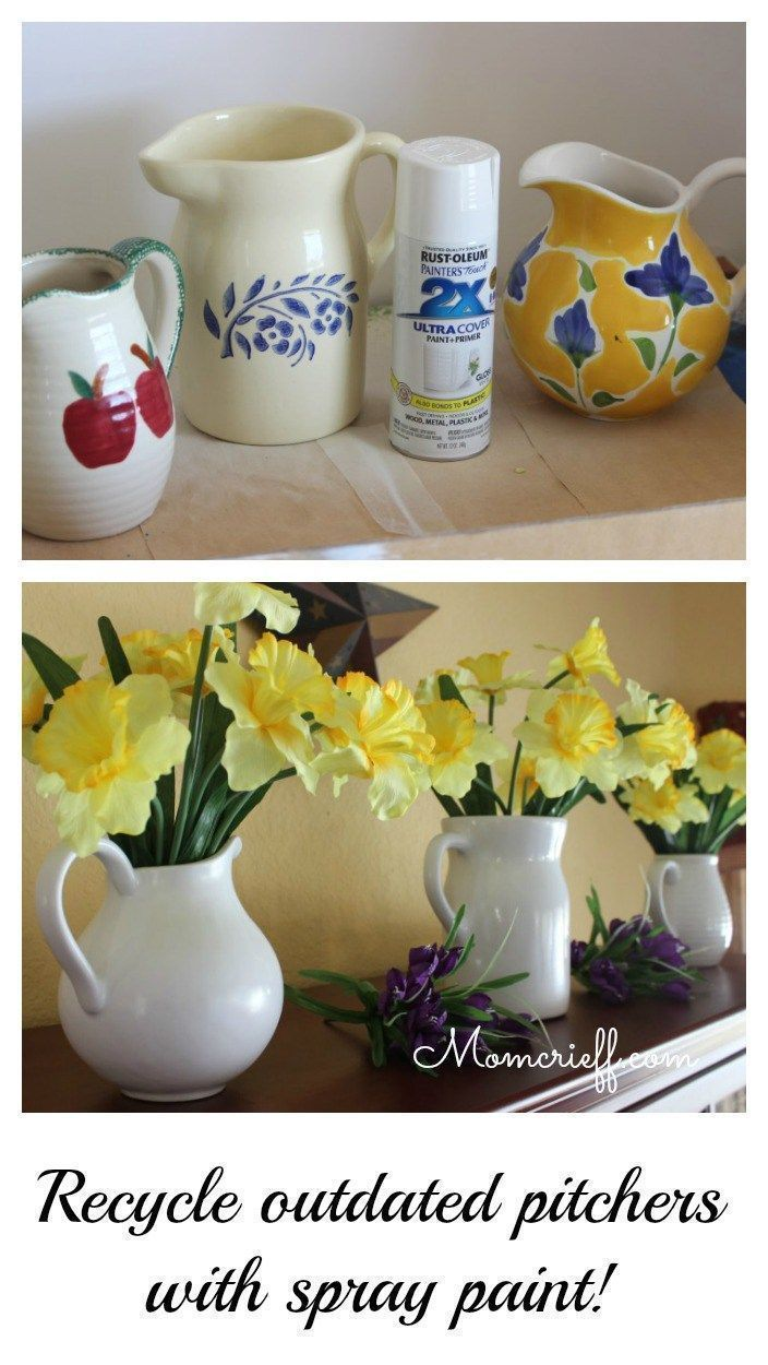 White pitchers & daffodils - make your own! Recycle / upcycle dated pitchers with some white spray paint. Quick and easy DIY to get that modern white look! Full step by step tutorial on how I do this. - Momcrieff