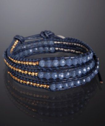 Chan Luu blue mirage beaded and nugget leather wrap bracelet | BLUEFLY up to 70% off designer brands at bluefly.com