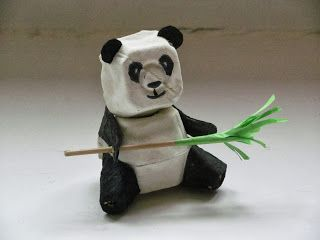 What a cute panda - and made of egg cartons too?