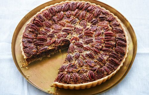 Thanksgiving dessert recipes- Pecan and Chocolate Tart with Bourbon Whipped Creme Fraiche