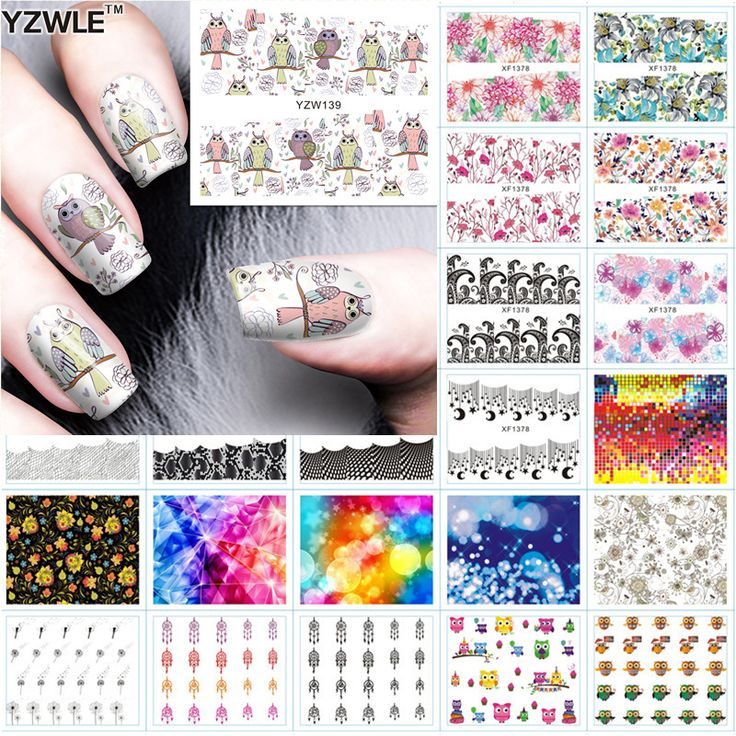 Yzwle 1 Sheet Diy Decals Nails Art Water Transfer Printing Stickers Accessories For Manicure Salon(s131-160)