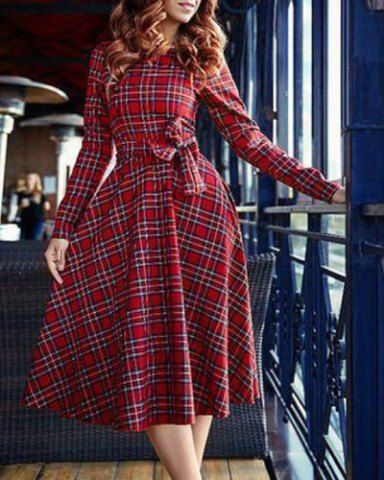 Vintage Round Neck Long Sleeve Plaid Self-Tie Dress For Women